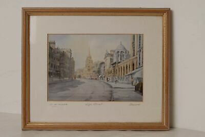 Framed Print of Oxford High Street Mount Signed by D.R.Meeks