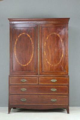 Good Quality 19th Century Antique Mahogany Sheraton Linen Press Wardrobe Armoire