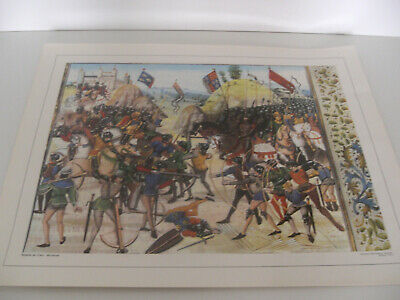 Ancienne Planche Affiche Poster Photo Scolaire Bataille Crecy