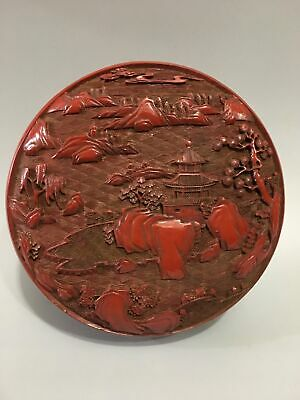 "6"" Qianlong China Lacquer ware wooden handcarved mountain pine tree Jewelry box"