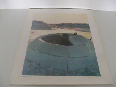 Ancienne Planche Affiche Poster Photo Scolaire Esquimaux Igloo