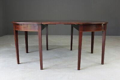 Antique 19th Century Mahogany D End Dining Table Demi Lune Console Side Tables