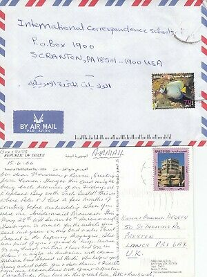 LL3026 Yemen Republic 11 air covers UK USA; diff solo stamps mid 1990s covers