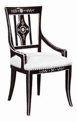 Ebonised Mother of Pearl Dining Chair with Cream Linen Upholstery