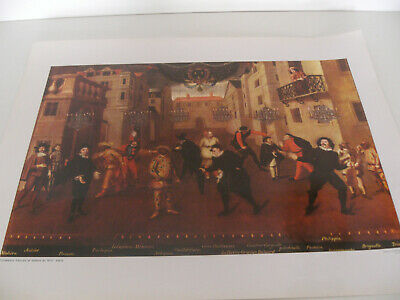 Ancienne Planche Affiche Poster Photo Scolaire Comediens Xvii Siecle