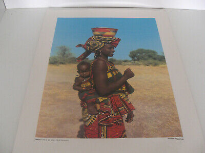 Ancienne Planche Affiche Poster Photo Scolaire Femme Foulbe Cameroun