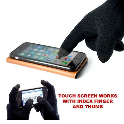 Mens Thermal Insulation Touch Screen Smartphone Device Winter Warm black Gloves