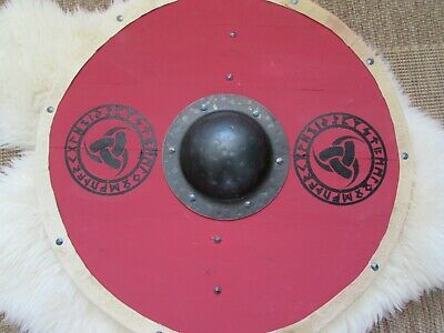 Red and black Odin's Horns and Runes Viking shield