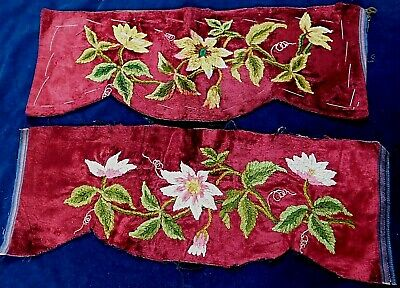 Two 19Thc Victorian Hand Embroidered Velvet And Chenille Panels / Pelmets