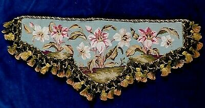 19thC VICTORIAN HAND WORKED TAPESTRY SHELF FRONT / PELMET WITH TASSEL FRINGE