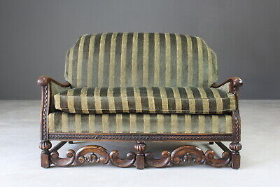 Antique Early 20th Century Oak Framed Small Sofa Settee