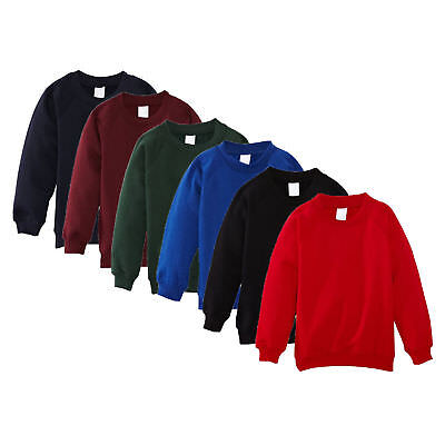 Kids Boys Girls School Uniform Plain Lined Sweatshirt Pull Over Jumper  2-14YEAR