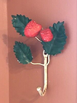 "Vtg Metal Tole Toleware 6"" Strawberry Wall Hanging Hook Hanger Painted Italian"