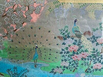 Exquisite Eye Hand Painted Chinese Painting Botanical Landscape Peacocks Flowers