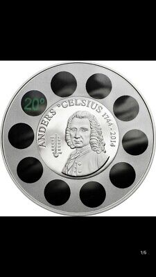 2014 cook islands  anders Celsius Silver Coin.