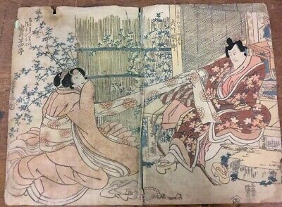 X2 Double sided 18th/19th C Japanese Woodblock Prints Book Signed