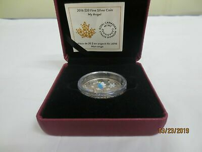 2016 $20 1 OZ PURE Venetian  Murano   Silver Coin My Angel . Royal Canadian Mint