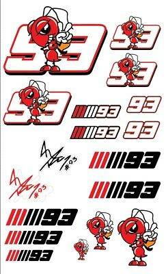 Marc Marquez 93 Motorcycle 18 Stickers Car Decals Set MotoGP Honda Laminated Top