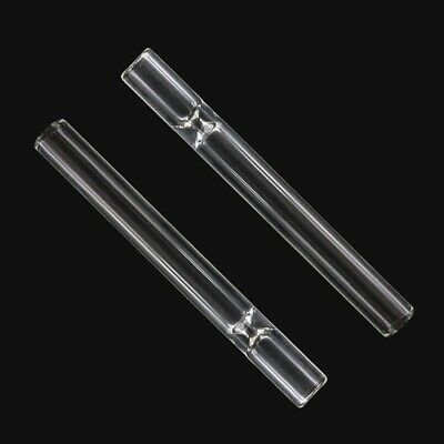 2X Reusable Pyrex Glass STRAW smoke Tobacco Herb Blowing Tube Chillum One Hitter