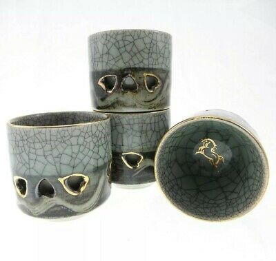 31 PC VINTAGE Soma Ware Crackle Double Wall Heart Horse Somayaki