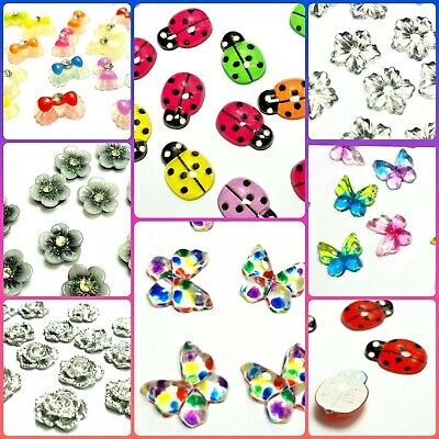 """UK SELLER""""  3D Nail Art Decoration Bows Flowers Roses Rhinestone FAST DELIVERY"""