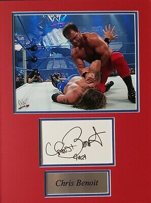 CHRIS BENOIT Signed 16x12 Photo Display WWE WRESTLING ROYAL RUMBLE Champion  COA