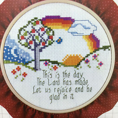 Vintage 80s Religious Counted Cross Stitch Kit Lord Let Us Rejoice Framing Hoop