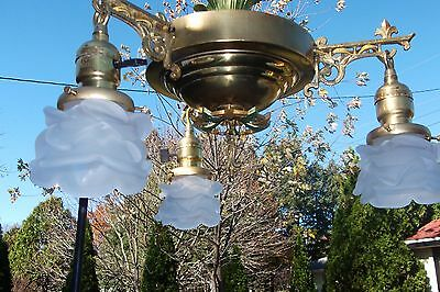 Antique brass & polychrome hanging light/fixture  with French shades