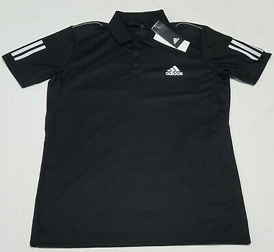 Adidas Mens Polo Club 3 Stripes Black  DU0848