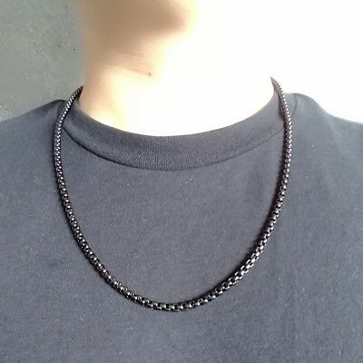 18K IP Black Gold Onyx 316L Stainless Steel Round BOX CHAIN Link Men's Necklace