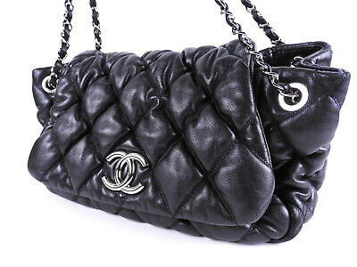 754bf7418e4722 CHANEL Bubble Quilted Accordion Matelasse Chain Shoulder Bag Lambskin Black  9711