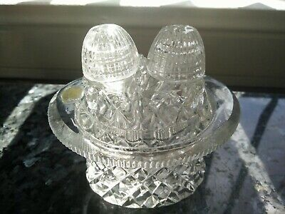 Vintage Art Deco Cut Glass Salt And Pepper Shakers on Tray Screw Lids