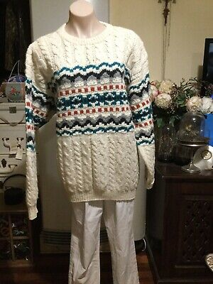 Mens Cream Hand Knit Cable Patterned Jumper BOYDEX pure New Wool Chest 100cm