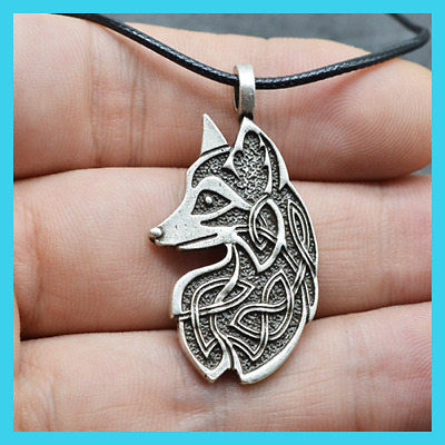 Valknut Viking Fox Pendant Handmade Celtics Fox Necklace Amulet Talisman Jewelry
