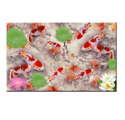 Modern Home Decor Art wall Print Canvas ABSTRACT OIL PAINTING Feng Shui Fish Koi