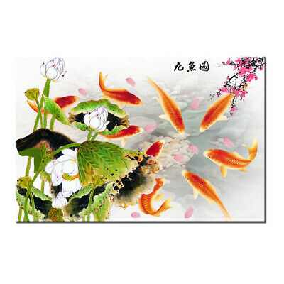 Art wall Modern Home Decor Print Canvas ABSTRACT OIL PAINTING Feng Shui Fish Koi