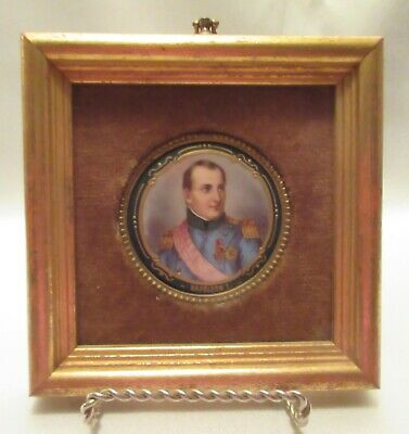 Vintage French H. P. Signed Miniature Portrait Of  Napoleon I, Gilded & Beaded