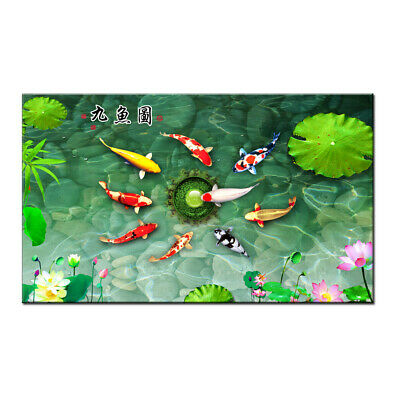 Art wall Modern Home Decor Print PAINTING on Canvas ABSTRACT Feng Shui Fish Koi