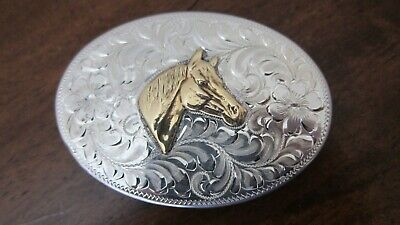 Sterling Hand-Engraved Floral Cowgirl Belt Buckle With HORSE~Signed HE~VINTAGE