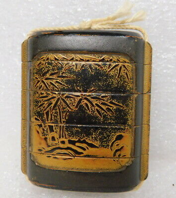 Antique Chinese segmented wood leather snuff bottle pill box Japanese rare