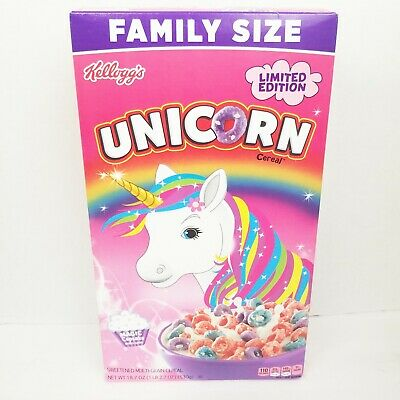 New Kelloggs Family Size Limited Edition Unicorn Cereal 18.7Oz Box Magic Cupcake