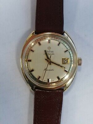 Vintage 18K Solid Gold Zodiac Hermetic Automatic With Date Mens Watch