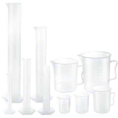 Plastic Graduated Cylinders and Plastic Beakers,5pcs Plastic Graduated Cyli V8N2
