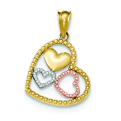 14K Yellow Gold Children/'s CZ Key with Hearts Charm Pendant MSRP $77