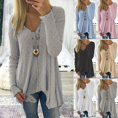 Womens V Neck Irregular Shirts Long Sleeve Jumper Sweater Top Casual Plus Size