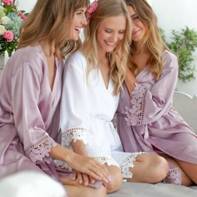 Bridal Satin Robe with Lace Trim ~ Personalised Embroidery ~ Bride Bridesmaid