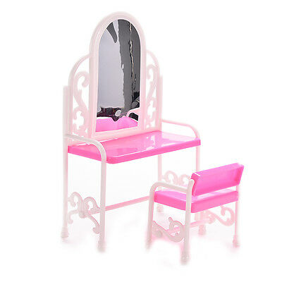 1 Set Kids Play House Furniture Accessories Dressing Table and Chair Barbi YH