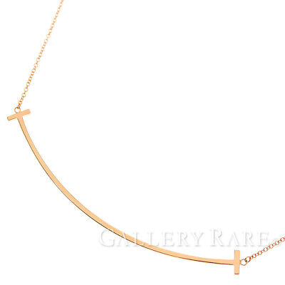 75142aa95 Tiffany & Co. T Smile Pendant Large 18K Pink Gold Jewelry Necklace 4936411