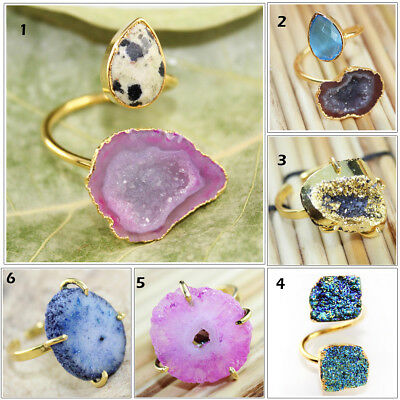 Colorful Geode Druzy Solar Quartz 24k Gold Electroplated Adjustable Ring Jewelry