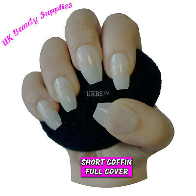 500x Short Coffin False Nails NATURAL Full Cover Glue On Nail Tips - UK SELLER